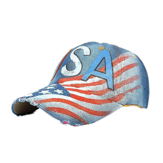 Feisette Women Men USA Denim Rhinestone Baseball Cap Hip Hop Flat Hat Baseball Cap Gorras Planas