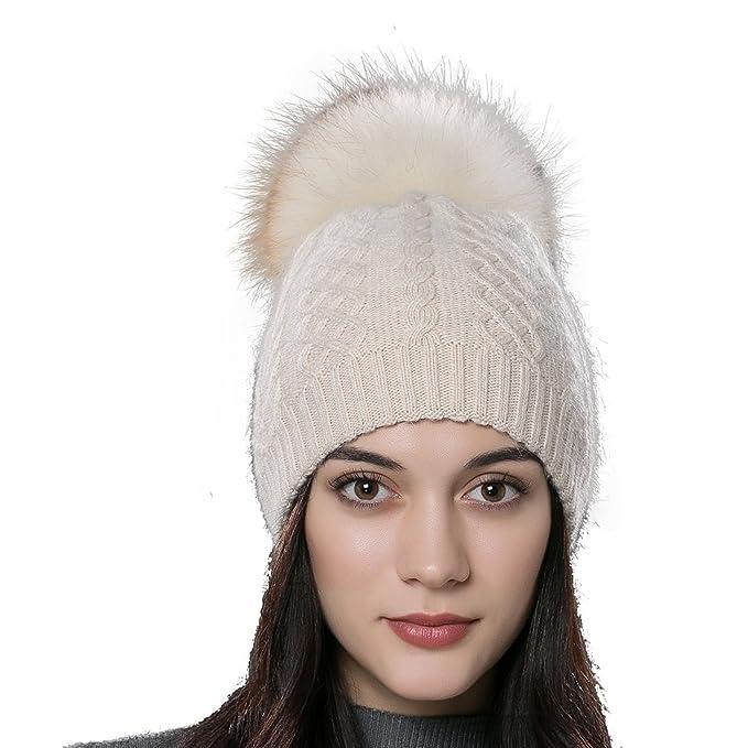 a36b095f URSFUR Women's Winter Bobble Hat Fox Fur Ball Pompom Beanies Caps (Beige)