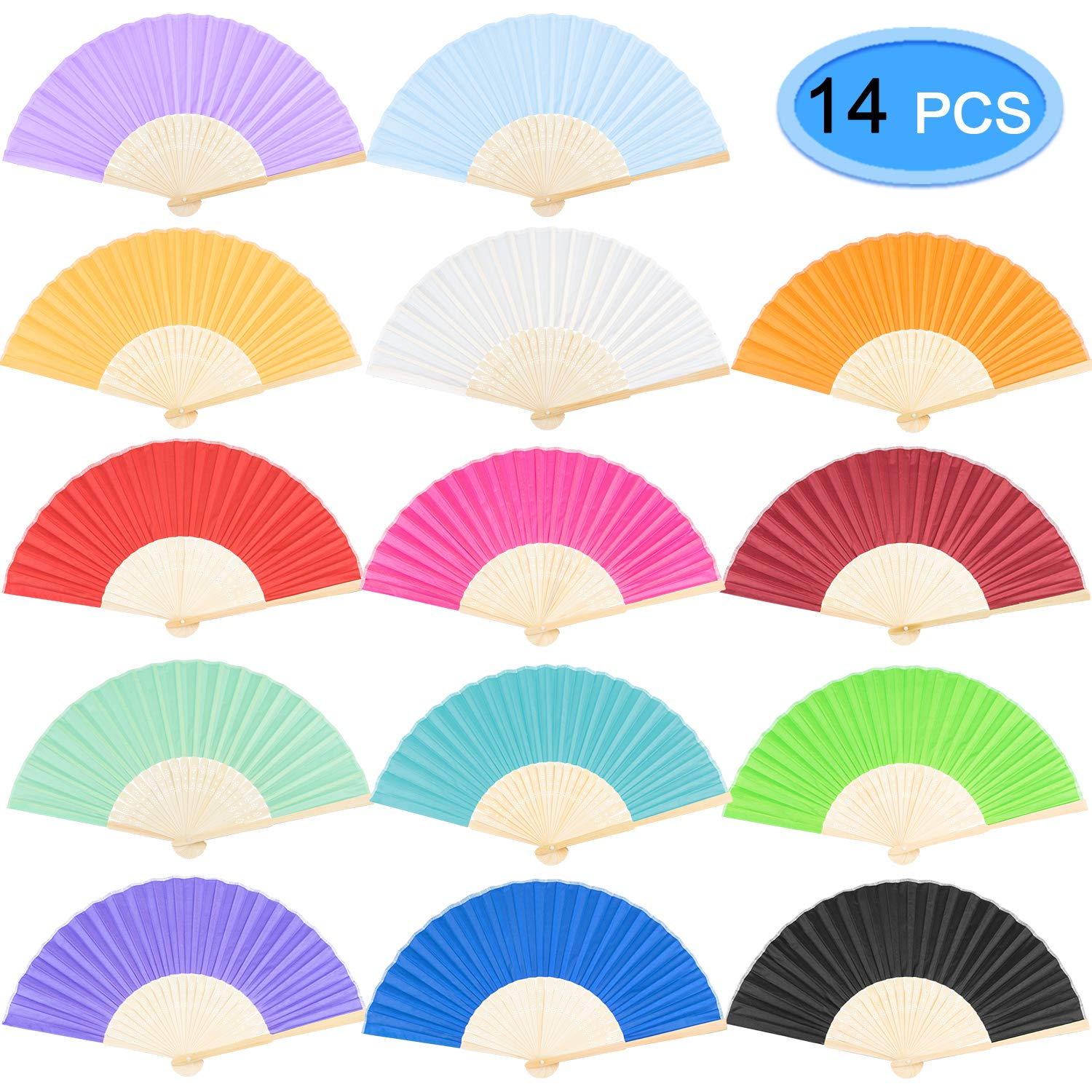 Pure Folding Dance Wedding Party Lace Silk Folding Hand Held Solid Color Fan 9