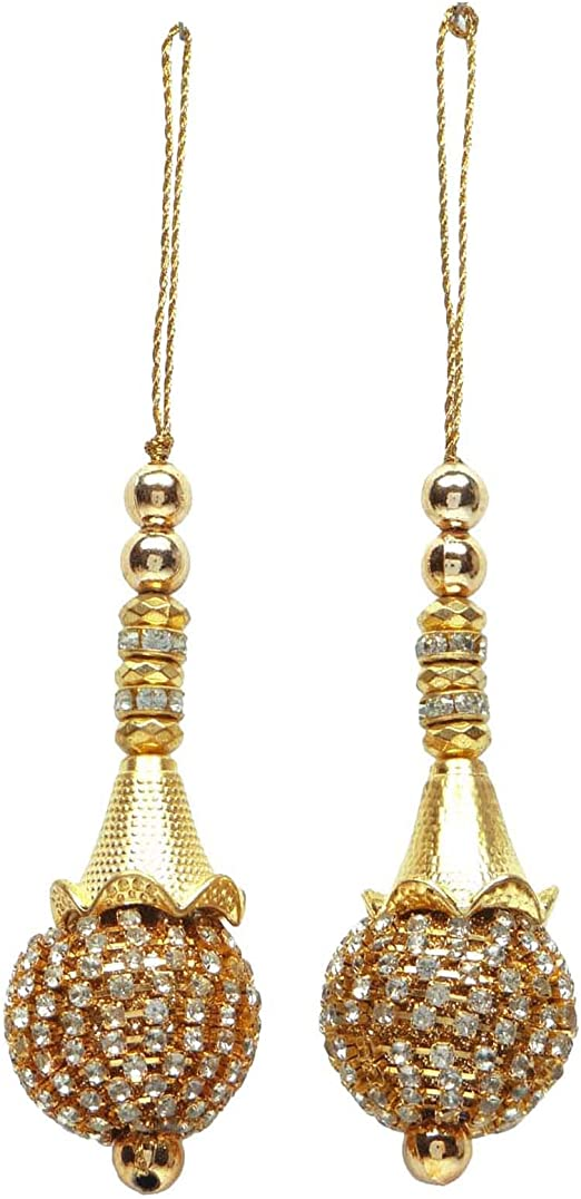 Decorative Bridal Blouse Tassels Pair Craft Thread Latkans Blouse Salwar Kameez Tassels Golden 7.5 Inch