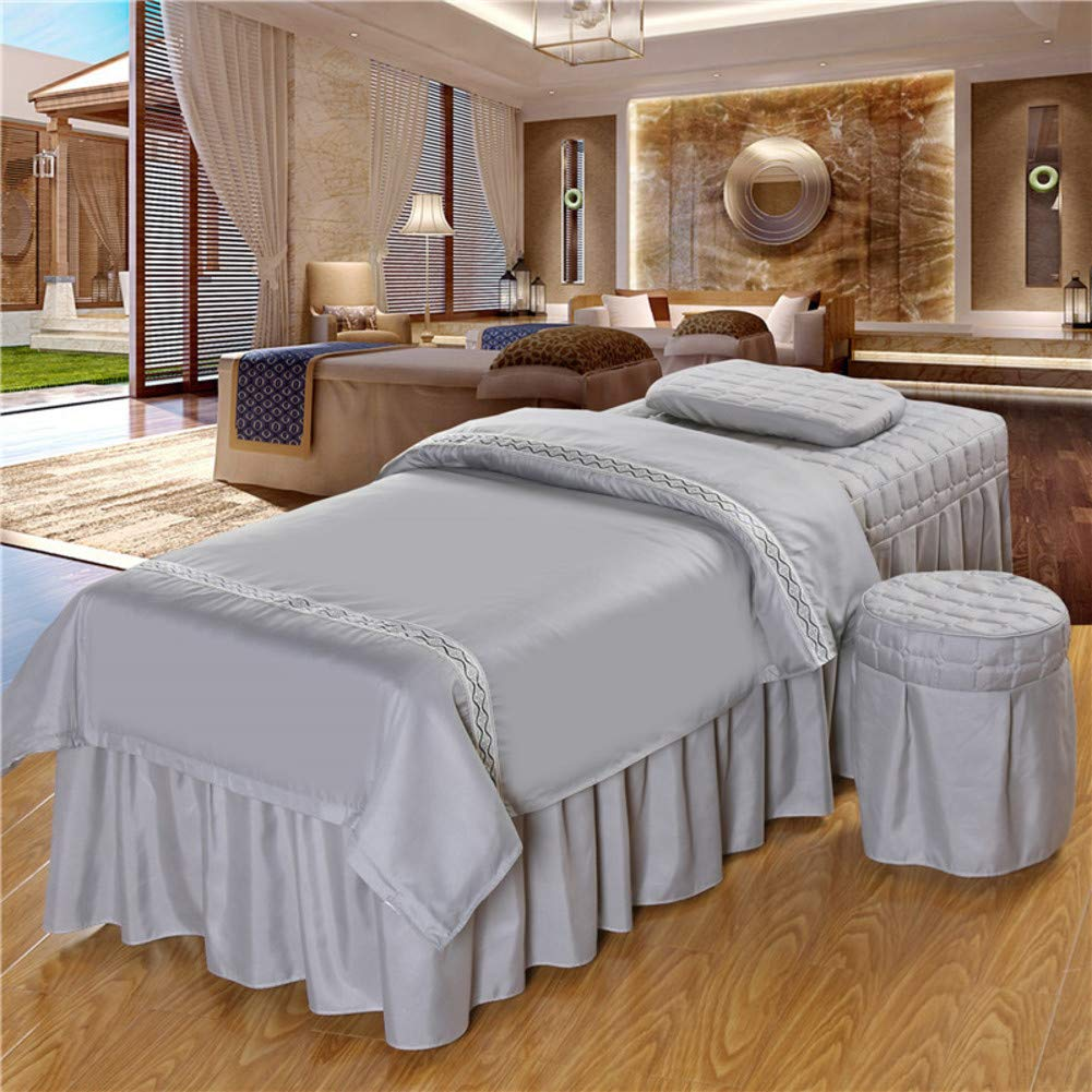 Massage Table Sheet Sets,Beauty Bed Cover Four-Piece Set Soft Cotton Facial Bed Cover Physiotherapy Bed Special Square Head use- Natural-Gray 185x70cm(73x28inch) by SL-DAM