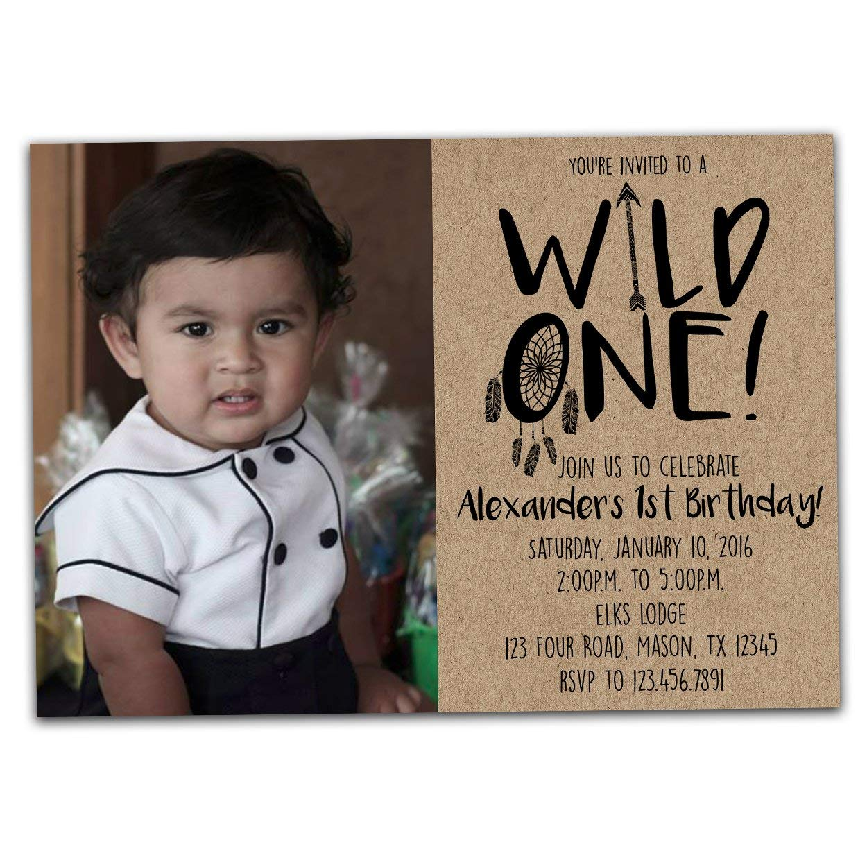 Amazon Photo Wild ONE Birthday Invitation For 1st Boy Invite Handmade