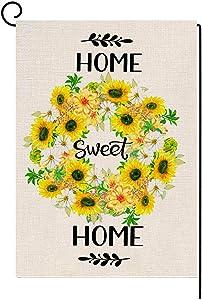 Welcome Spring Garden Flag Sunflowers Wreath Flag Vertical Double Sided Farmhouse Burlap Yard Outdoor Decor 28 x 40 Inch