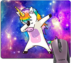 Knseva Dabbing Unicorn Funny Dab Dance Fairy Tale Rainbow Mouse Pad Custom, Space Nebula Galaxy Purple Blue Pink Mouse Pads
