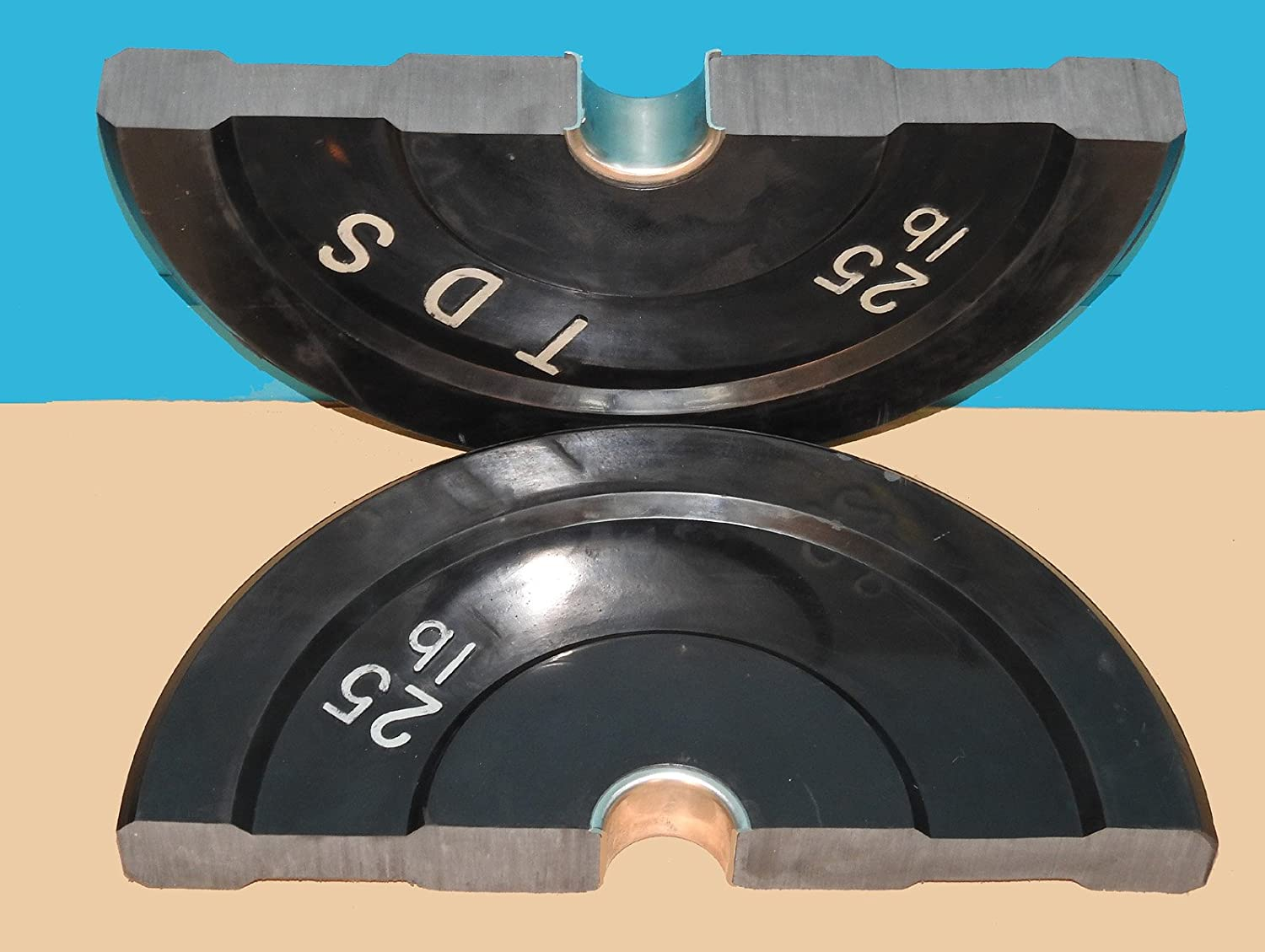 TDS 50lb Virgin Rubber Bumper Plate set consists of 2-25lb without steel plates inside. Designed for CrossFit workout and Fitness Training.