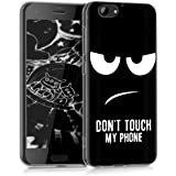 kwmobile Funda para HTC One A9s - forro de TPU silicona cover protector para móvil - Case Diseño Don't touch my phone blanco negro