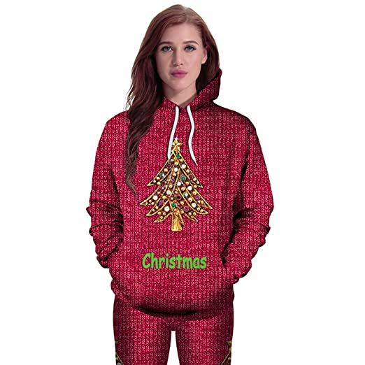 women christmas hoodies long sleeve casual t shirts sweatshirts christmas print jumper sweater