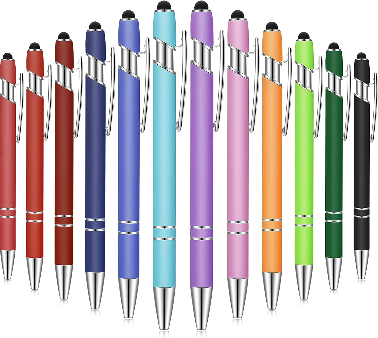 12 Pieces Ballpoint Pen with Stylus Tip, 1.0 mm Black Ink Metal Pen Stylus Pen for Touch Screens, 2 in 1 Stylus Ballpoint Pen : Office Products