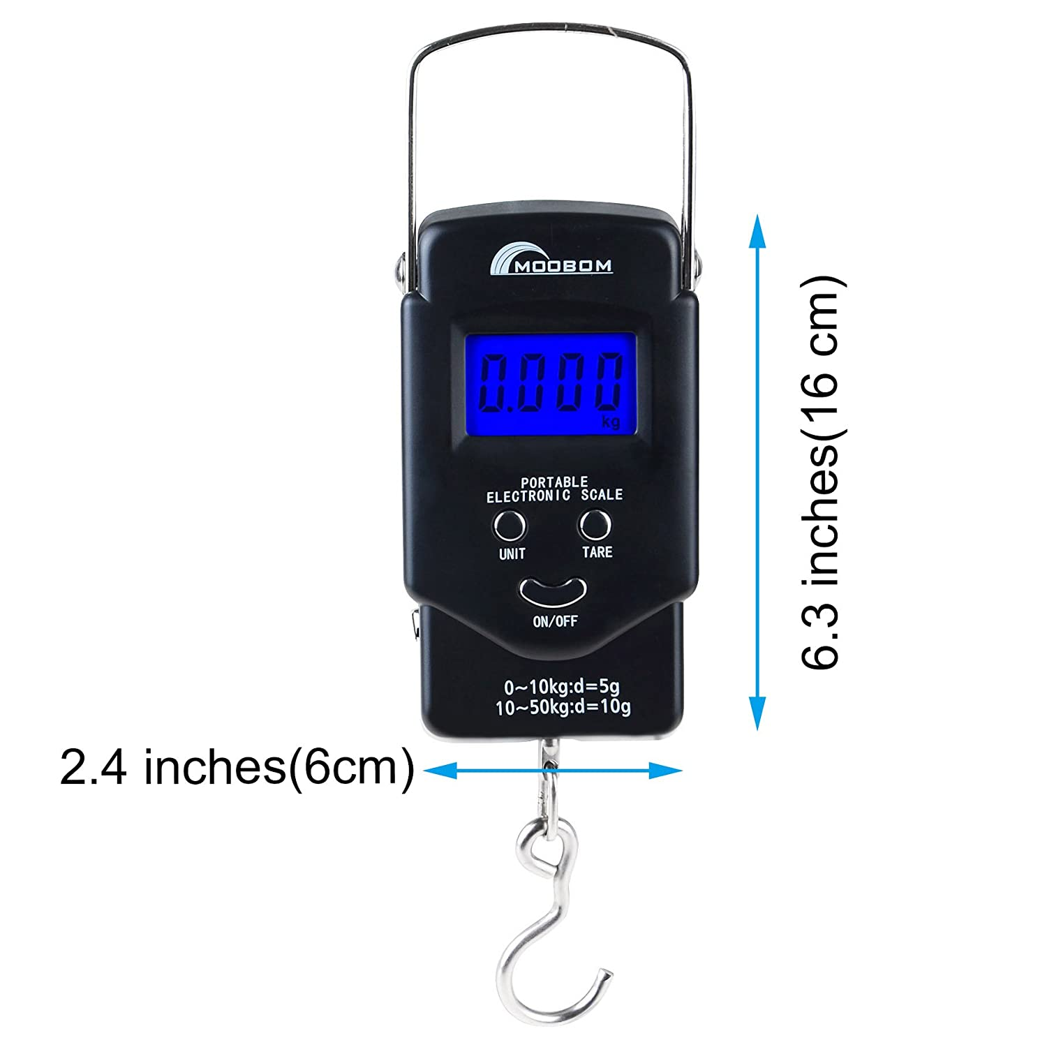 1799a98f635b MOOBOM Portable Backlit LCD Display Digital Fishing and Luggage Hanging  Hook Scale 110lb/50kg
