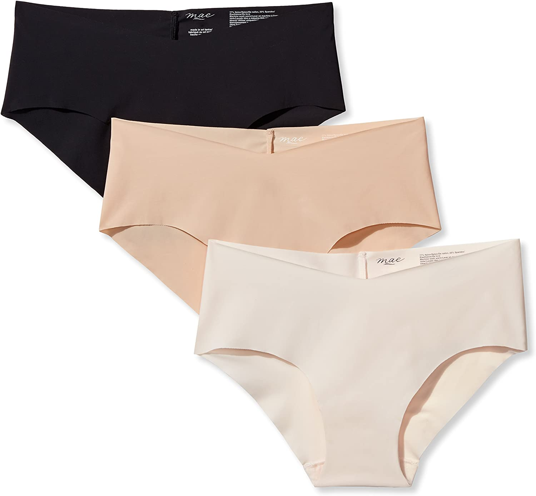 Mae Womens No Show Infinity Edge Hipster Underwear Brand 3-Pack