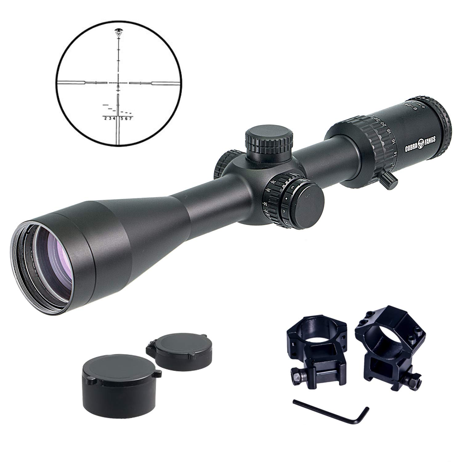 COBRA FANGS 6-24X50mm FFP Rifle Scope for Outdoor Hunting, FFP Tactical AO Optics RifleScope Red Green Illuminated 1 4 MOA Mil-dot Crosshair Scope with Covers Free Mounts