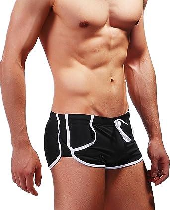 d3c904acf1 Men's Swimming Trunks Mens Classic Boxer Briefs Pocket Thin Short Leg  Swimsuit (Small, Black