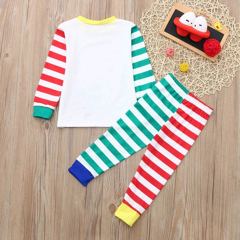 LIKESIDE✿2PCS Christmas Children Cartoon Santa Top+Stripe Pants Family Pajamas