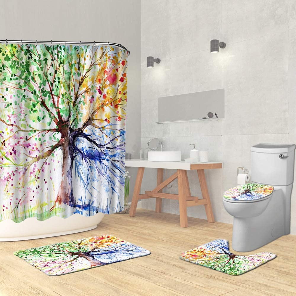 Grey and Yellow Camouflage Shower Curtain Bathroom Decor Fabric /& 12hook 71 In