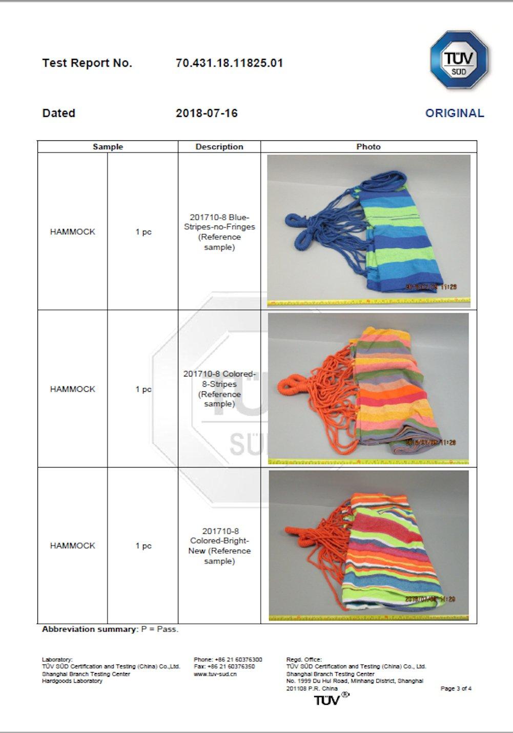 Corona Burg Hamaca m/ás Personas 210/x 150/cm 6/Colored Stripes soporta hasta 300/kg