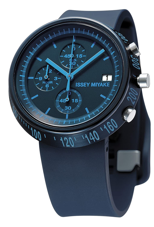 Issey Miyake Unisex-Armbanduhr Trapazoid Chronograph Kunststoff Blau SILAZ006