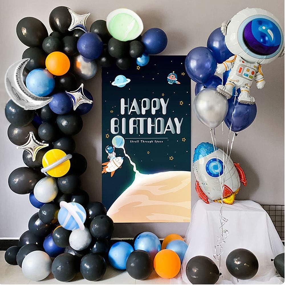 MMTX Ballon D/écorations Anniversaire Garcon 1 an Ensemble de Ballon de Lespaceavec Guirlande Joyeux Anniversaire Latex Ballons pour Gar/çon B/éb/é Douche D/écor Happy Birthday Ballon Lettre
