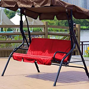 Boquite Christmas Carnival Swing Seat Cushion Cover Set, Outdoor Swing 3‑Seat Chair Waterproof Cushion Replacement for Patio Garden Yard, Waterproof (Red)