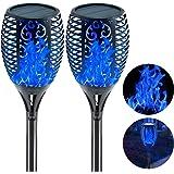 EOYIZW Solar Flame Lights Blue Fire Flickering Torch Light 96 LEDs Flame Spotlights Waterproof Dusk to Dawn Lighting…