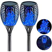 EOYIZW Solar Flame Lights Blue Fire Flickering Torch Light 96 LEDs Flame Spotlights Waterproof Dusk to Dawn Lighting…