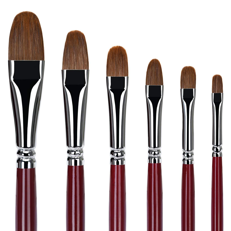 Set de 6 piezas de pincel plano para artista con mango de madera para acuarela acr/ílico y pintura al /óleo