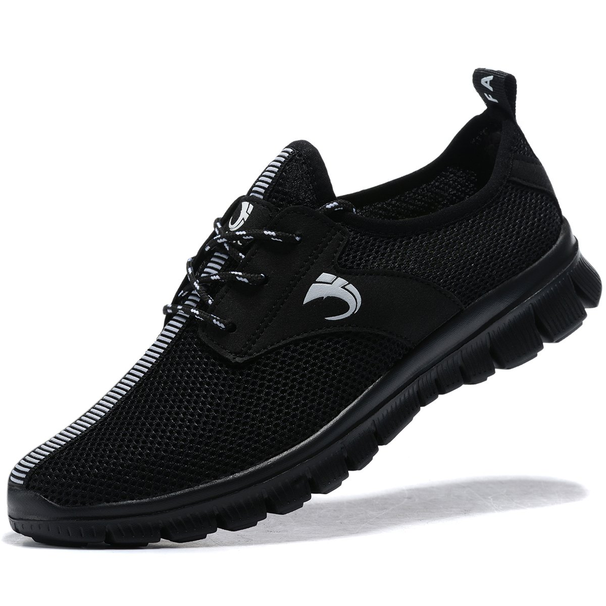 FANIC Men's Walking Shoes Workout Shoes Full Mesh Running Shoes Lightweight Comfortable Fitness Breathable Casual Sneaker (11US/45EU,Men, All Black)¡