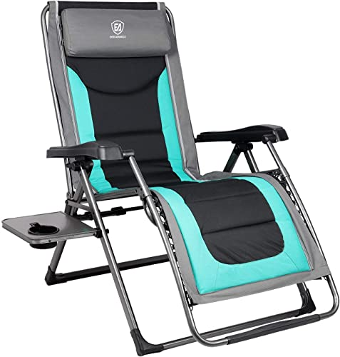 EVER ADVANCED Oversize XL Zero Gravity Recliner Padded Patio Lounger Chair with Adjustable Headrest Support 350lbs, Green Renewed