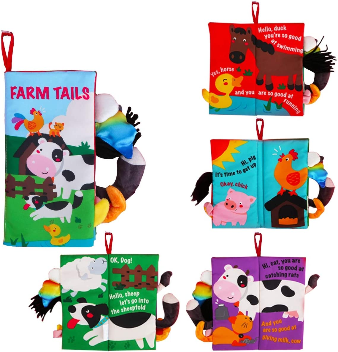 beiens Soft Baby Cloth Books, Touch and Feel Crinkle Books, for Babies, Infants & Toddler Early Development Interactive Toys, Baby Girl & Baby Boy Gift (Farm Tails)