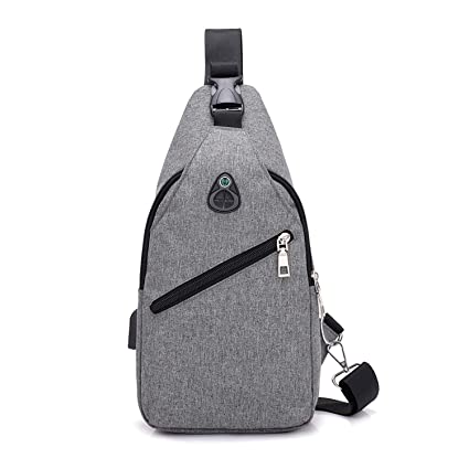 a654d991f046 Amazon.com | Fashion casual men chest pack single shoulder bags USB ...