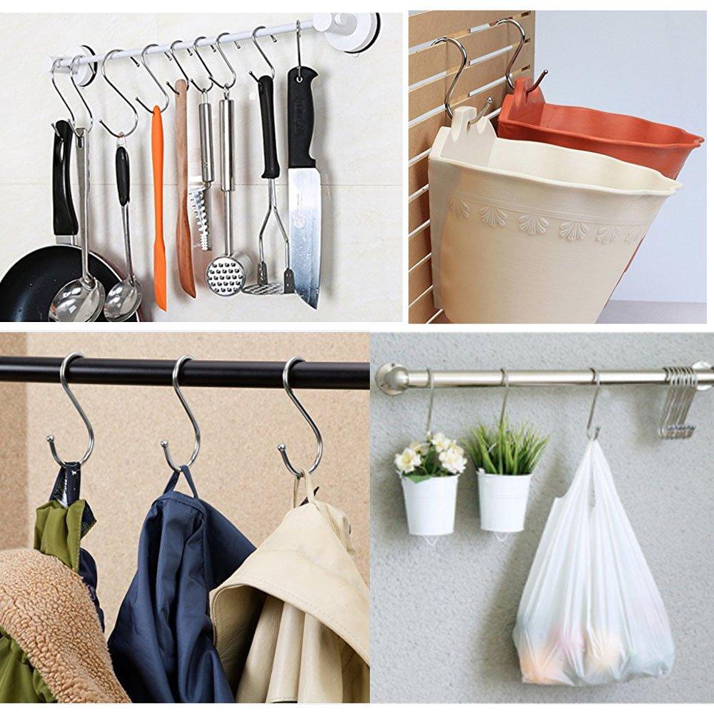 Posan - 10 ganchos de metal en forma de S para colgar en el hogar, cocina, cacerolas, sartenes, toallas de baño, ropa, abrigos, perchas: Amazon.es: ...