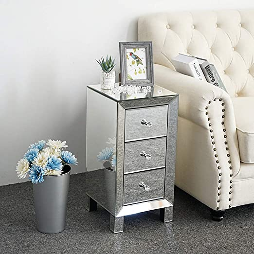 Amazon Com Bonnlo 3 Drawer Mirrored Nightstand End Tables Bedside Table For Bedroom Living Room Silver 11 7 L X 8 W 23 9 H Kitchen Dining