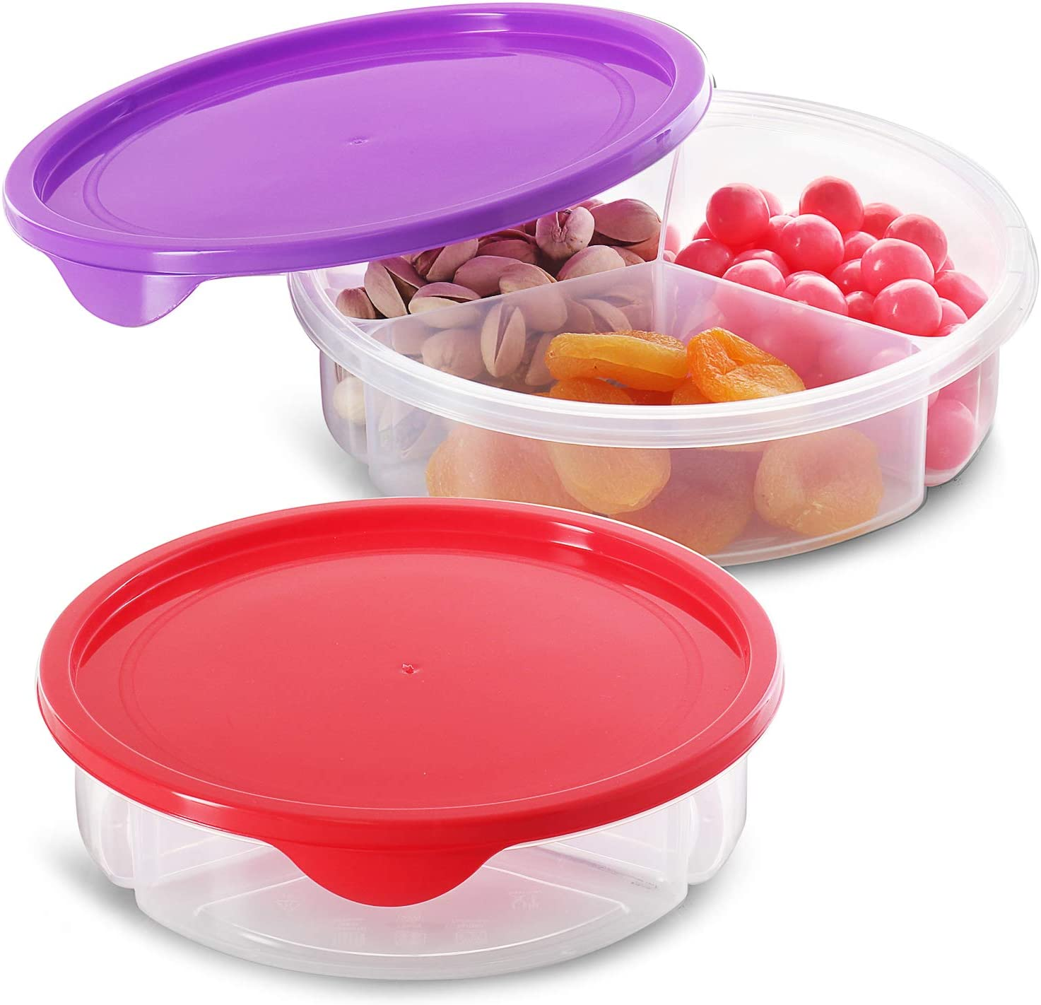 Zilpoo 2 Pack - Candy and Nut Serving Container, 3 Compartment Appetizer Tray with Lid, Round Plastic Food Storage Lunch Organizer, Divided Keto Snack Plate, Dish Platter w/Cover, 7-Inch