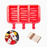 beicemania Silicone ice Lolly Mould bpa Free with Sticks - Rectangle Swirl, red