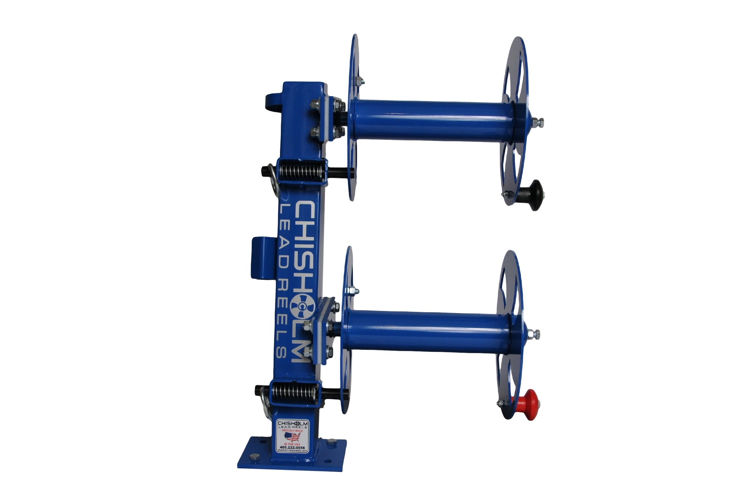 12'' BLUE Heavy-Duty FIXED-BASE Double Welding Cable Lead Reel Holds up to 200' of 1/0 Cable