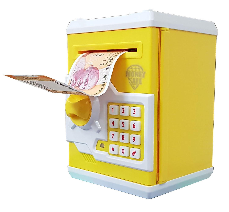 Magicwand Money Safe Kids Piggy Savings Bank with Electronic Lock (Yellow  White)