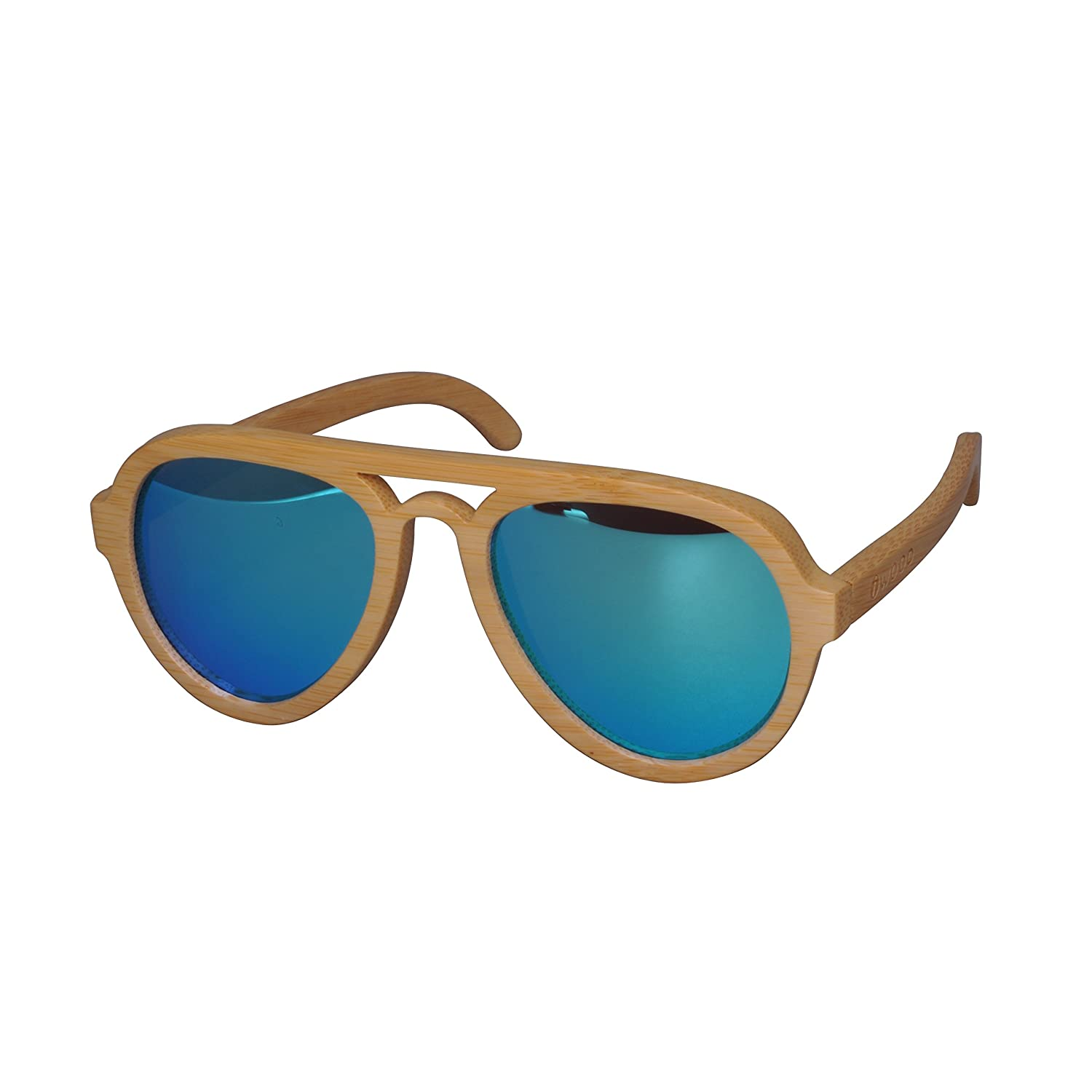 Iwood Handmade Natural Bamboo Frames Polarized Blue Lens Wooden Sunglasses