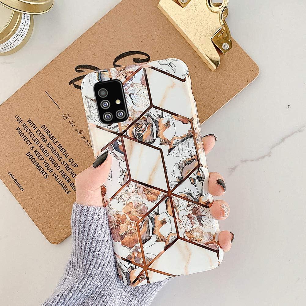 Uposao Kompatibel mit Samsung Galaxy A51 Marmor H/ülle Case Glitzer Marmor Blumen Muster Weiche TPU Silikon Ultra D/ünn H/ülle Schutzh/ülle Kratzfest TPU Bumper Handytasche Case Cover,Gold