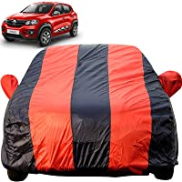 Autofact Car Body Cover for Renaults Kwid (Mirror Pocket Fabric, Triple Stiched, Fully Elastic, Red/Blue Color)