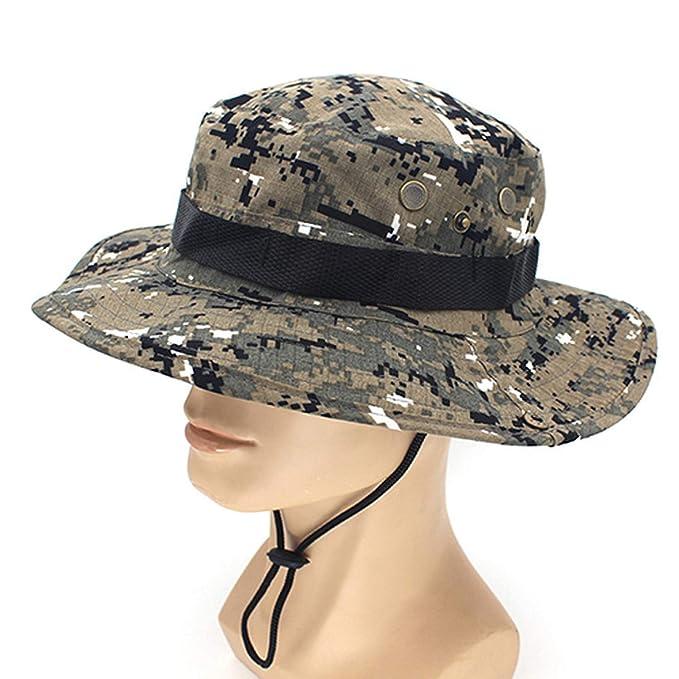 baa8ffe59b6 Women Men Casual Bucket Hat with String Summer Fisherman Cap Military  Safari Boonie Outdoor Sun Hats Cap at Amazon Women s Clothing store