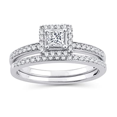 e7df02b95d1 Amazon.com: EternalDia 1/2 CT. T.W. Princess-Cut Diamond Halo Framed ...