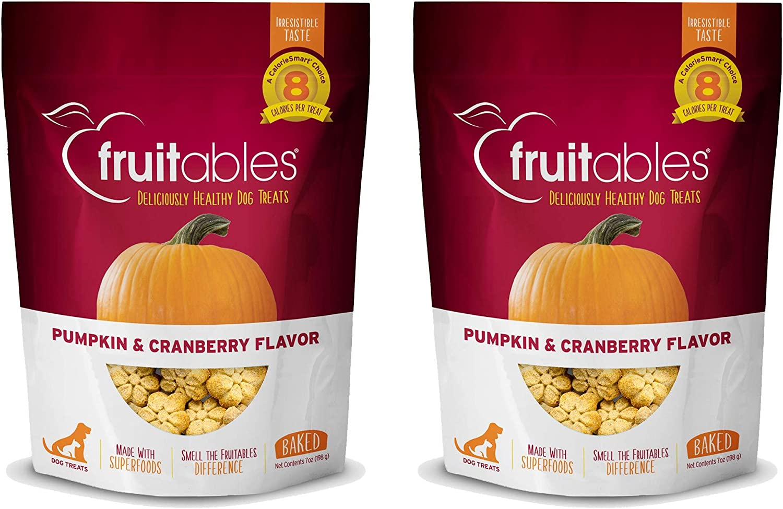 Fruitables Baked Dog Treats Pumpkin & Cranberry Flavor (2 Pack) 7 oz Each