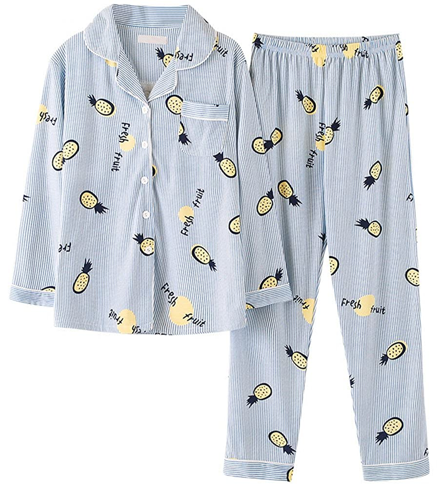 PajamaMax Womens Pineapple Print Long Sleeves 2-Piece Sleepwear Pajama Set  - - Small  Amazon.co.uk  Clothing 938f4328c