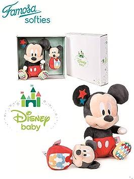 Famosa Softies Disney Baby - Set Caja Regalo Mickey Mouse Peluche + Baby Sonajero Calidad Super Soft: Amazon.es: Juguetes y juegos