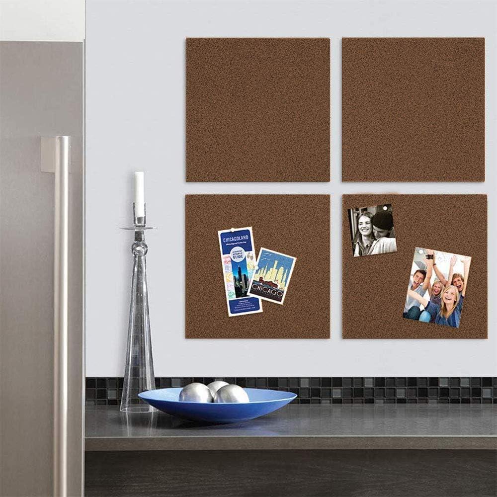 "6/"" x 6/"" Home School Message Board Natural Quartet Cork Board Bulletin Board Tiles Mini Wall Bulletin Boards Corkboard 4 Pack Decorative Pin Boards for Home Office Decor 15050Q"