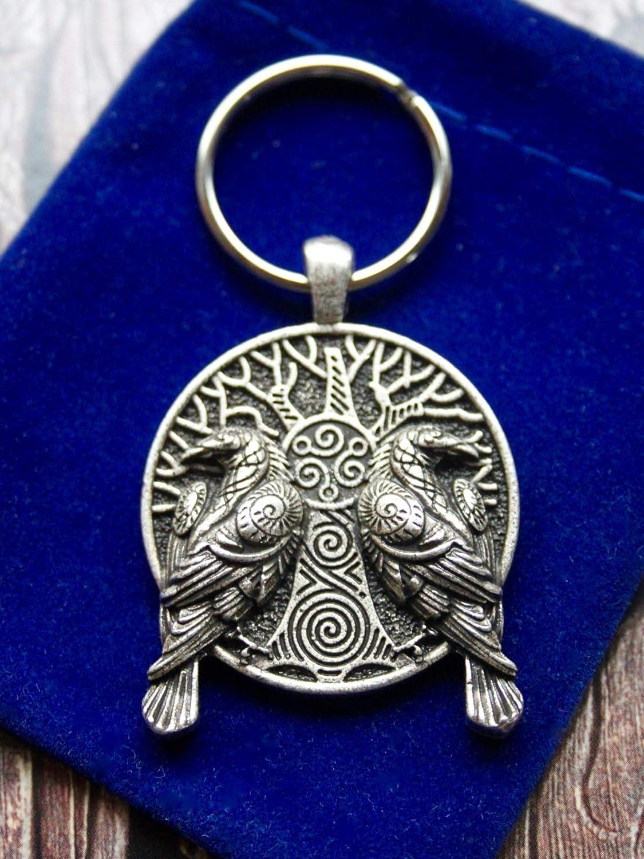 Sworldesigns Yggdrasil Hugin Munin Wikinger Gott Odin Rabe Schlüsselanhänger Mit Geschenkbeutel Durchmesser 3 5 Cm Auto