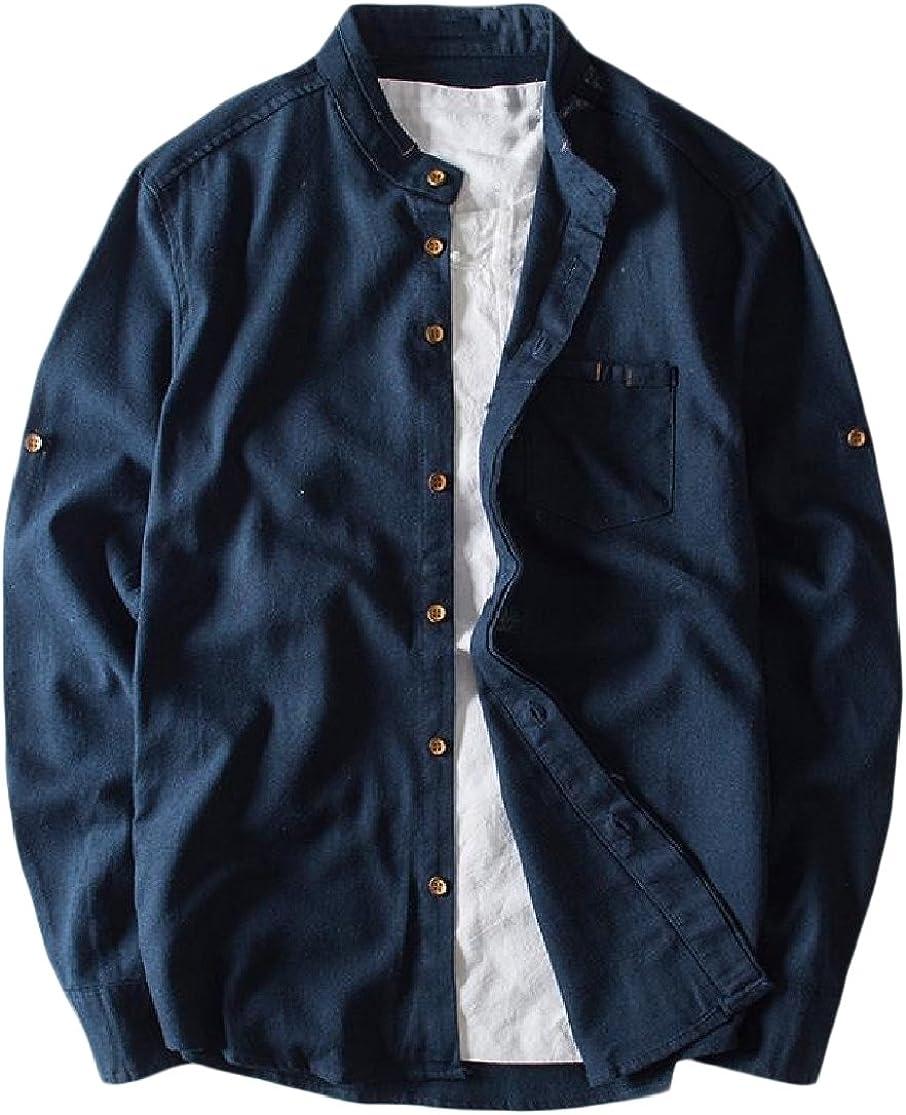 CuteRose Mens Regular Fit Linen Mandarin Collar Pure Colour Western Shirt