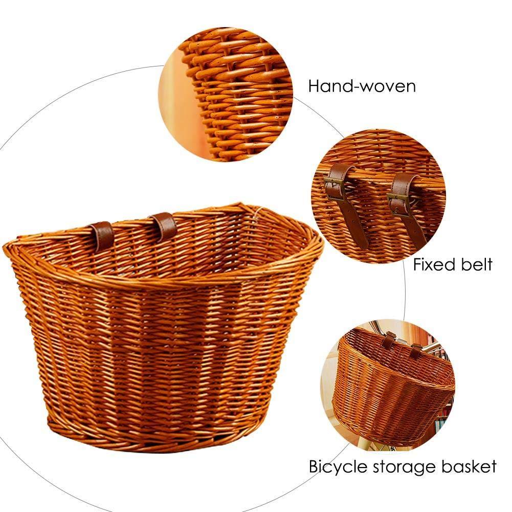 per manubrio anteriore Househome Cesta da bicicletta in vimini con ganci salice viminale bici cestino da bicicletta