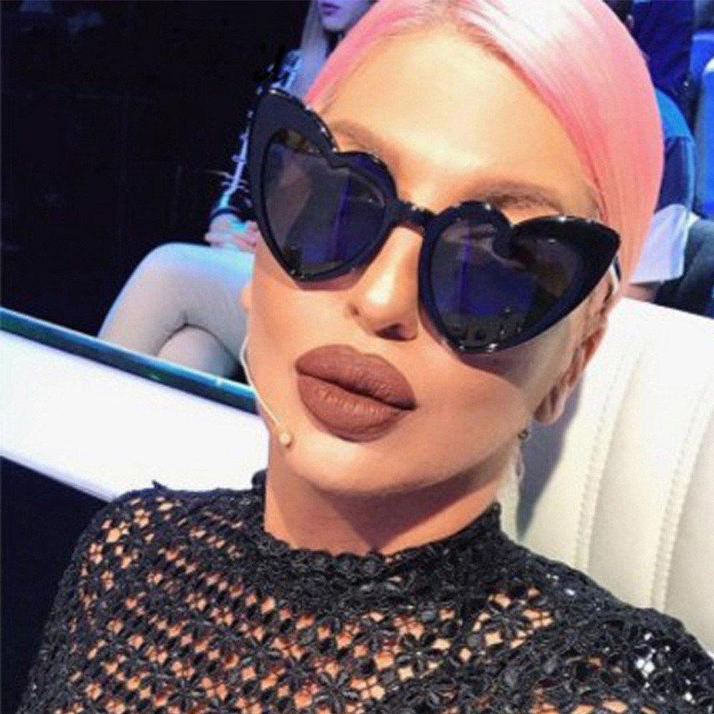 Kobay Women Retro Fashion Heart-shaped Shades Sunglasses Integrated UV Glasses