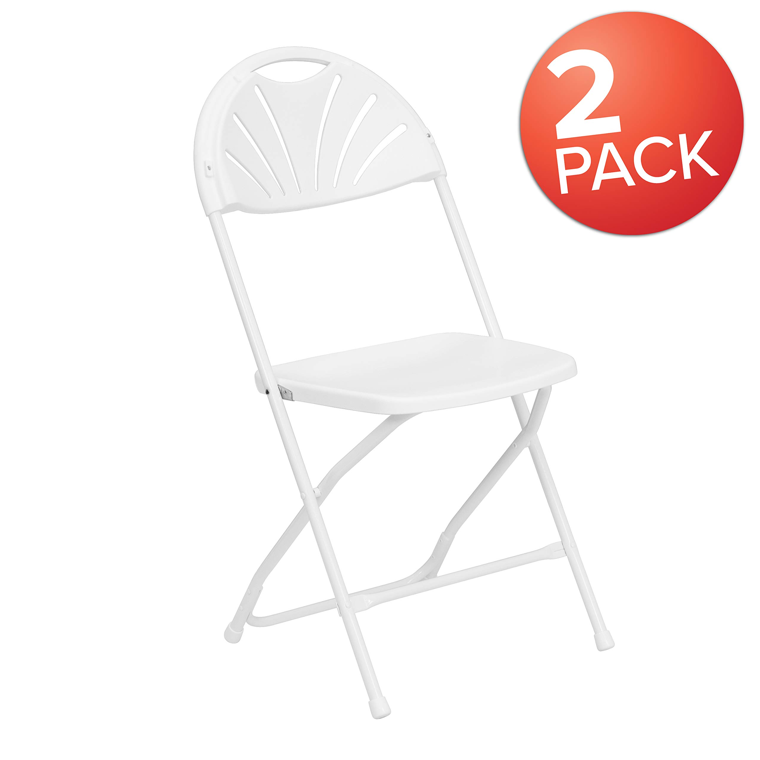 Flash Furniture 2 Pk. HERCULES Series 650 lb. Capacity White Plastic Fan Back Folding Chair by Flash Furniture