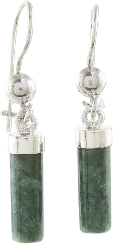 NOVICA Jade .925 Sterling Silver Dangle Earrings, Apple Green Mayan Pillars'